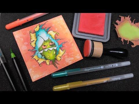 LEARN Masking & MAKE Cute Monster Birthday Cards!