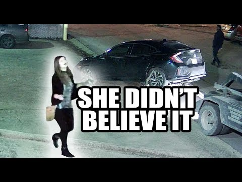 Girl Ignores Signs, Honda Gets Towed