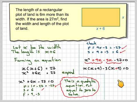 Using quadratic equations to find the dimensions of a rectangle