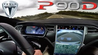 2016 Tesla Model S P90D 762 HP LUDICROUS TOP SPEED & Acceleration on AUTOBAHN Test & Sound