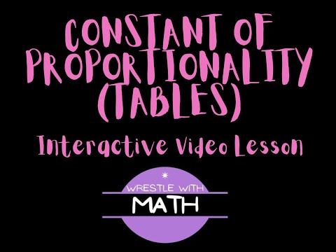 Constant of Proportionality of Tables