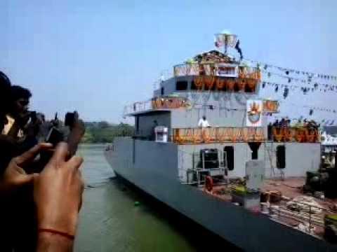 Launching LCU L-51 warship from Kolkata for Indian Navy