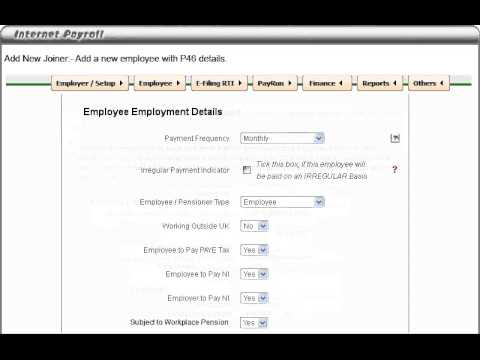 Add new Joiner: New employee without a form P45(3) and requires a form P46.