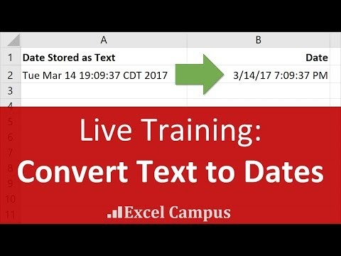 Live Excel Training on Converting Text to Dates
