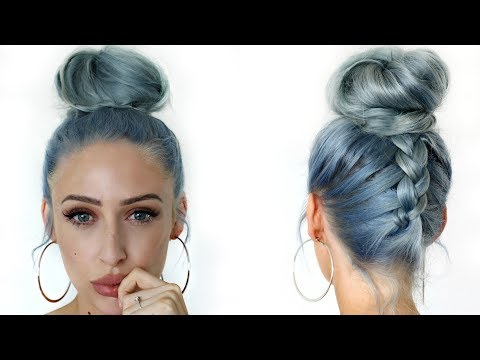How To: Upside Down Dutch Braid Messy Bun / Top Knot Hair Tutorial - Carly Musleh