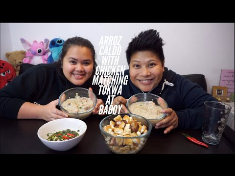 Arroz Caldo with Chicken matching Tokwa at Baboy (Tofu and pork) Mukbang (Eating Show)