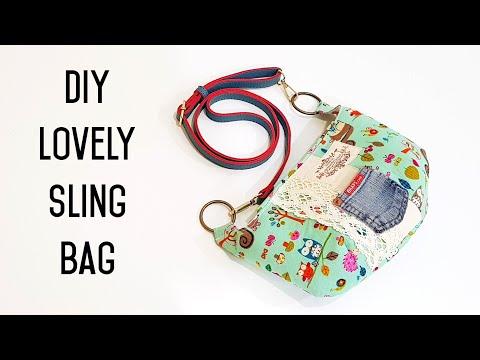Diy Lovely Sling Bag   How to Re-Use pockets from old denim jeans   牛仔裤袋里面的小袋子可以这么用喔❤❤