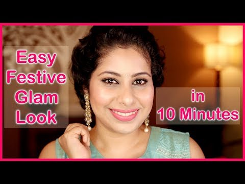 HINDI - 10 MINUTES FESTIVE GLAM LOOK FOR BEGINNERS