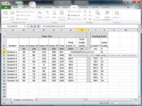 How to Convert Grades Using the VLOOKUP Function in Excel 2010