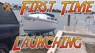 Catalina 22 Launching Her For The 1st Time  - Episode 9 (apple And Rob)