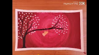 how to draw scenery painting step by step with poster colour romantic scenery painting
