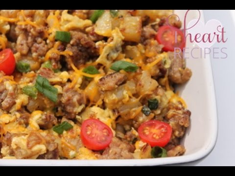 Breakfast Sausage, Potato, and Egg Scramble - I Heart Recipes