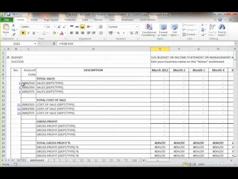 BUDGET INCOME STATEMENT AND MANAGEMENT ACCOUNTS