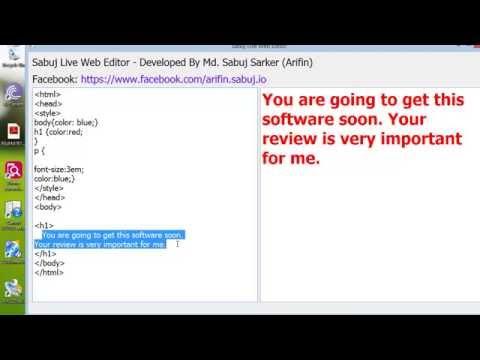 Sabuj Live Web Editor - Live Web Html CSS editor software for Computer