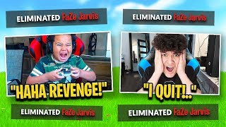 My Little Brother Stream Sniped FaZe Jarvis until he RAGE QUIT FORTNITE
