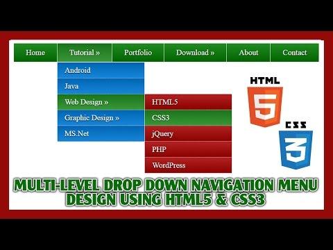 Multi-Level Drop Down Navigation Menu Using HTML5 & CSS3   Web Design Tutorial