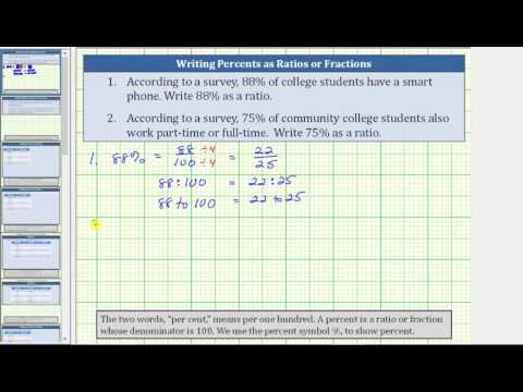 Convert a Percent to a Ratio or Fraction (88% and 75%)