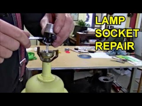 Lamp repair, fix socket, replace cord, overheating damages wiring