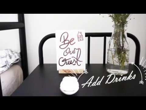 Guest Room DIY Welcome Hamper Ideas | Brushletter Embossing Postcard