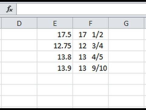 Convert decimals to fractions using Excel