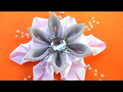 Снежинка канзаши на Новый год / Канзаши Мастер класс / DIY Christmas snowflake ribbons