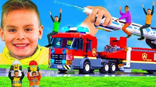 Kids Shrink and Play with Fire Trucks, Excavator, Police Cars, Trains & Toy Vehicles