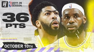 LeBron James & Anthony Davis Full Highlights vs Brooklyn Nets (2019.10.10) - 36 Pts Combined!
