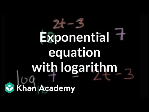 Solving exponential equation with logarithm | Logarithms | Algebra II | Khan Academy