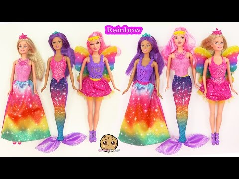 Barbie RAINBOW Easy Dress Up Dolls Mermaid Fairy Princess Fairytale Cookieswirlc Toy Video
