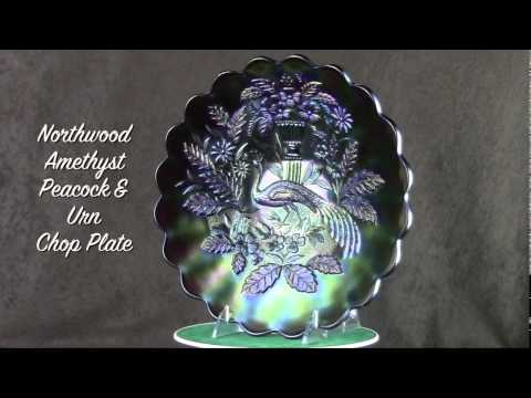 Northwood Purple Peacock & Urn Chop Plate