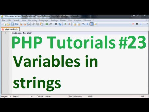 Basic PHP Programming Tutorial 23: Variables in Strings and tokenizing