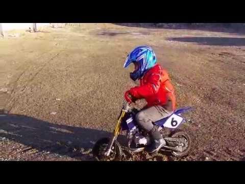Morgan on the pit bike