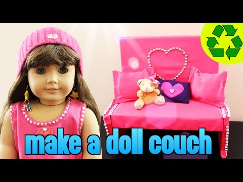 How to make an American girl doll couch / sofa- Easy Doll Crafts - simplekidscrafts