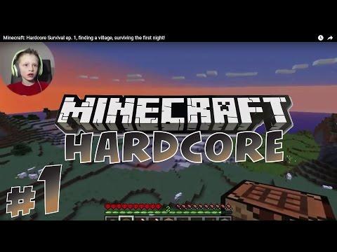 Minecraft: Hardcore Survival #1, finding village, surviving first night!   KID GAMING