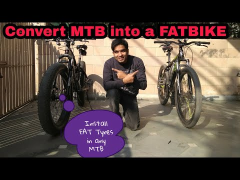 How To Convert any MTB into Fatbike | just 1200rs only | Install Fat Tyres in bicycle | Plus Bike