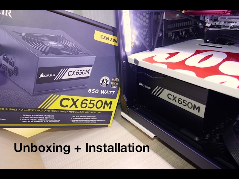 Corsair CX650m 650 Watt 80 Plus Bronze PSU Power supply unboxing and installation on PC