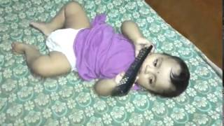 8 Months baby Activities...8 Months cute Baby Playing with Remote..