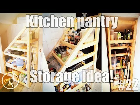 Kitchen pantry storage solution, under the stairs storage idea.