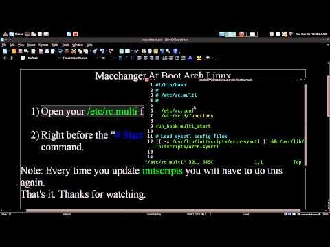 Macchanger At Boot Arch GNU / Linux