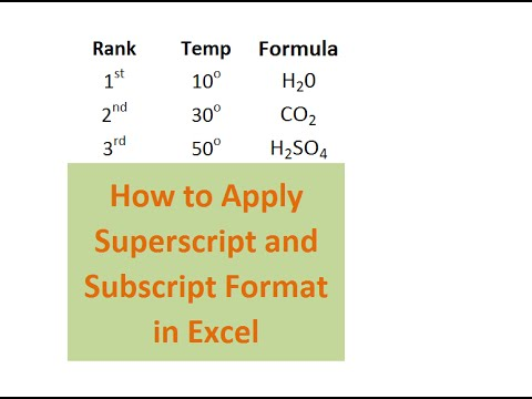 How to Apply Superscript and Subscript Format in Excel