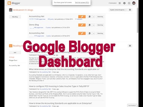 An introduction about Google Blogger Dashboard - Blogger Guide