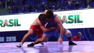 Freestyle action from the 2015 Junior Wrestling World Championships in Salvador, Brazil