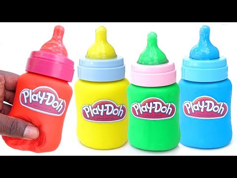 DIY How To Make Play Doh Baby Milk Bottles Modelling Clay Baby Learn Colors Mighty Toys