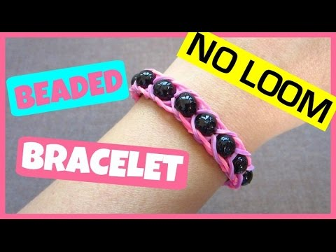 Rainbow Loom Bracelet with Beads without Loom/ using Pencils