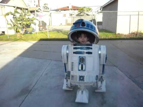 Zoe Riding in her finished R2-D2
