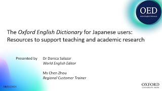 The Oxford English Dictionary for Japanese users: resources to support teaching and research