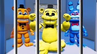 GOLDEN FREDDY & ANIMATRONIC FRIENDS PRISON BREAK! HELP HIM! (GTA 5 Mods For Kids FNAF) RedHatter