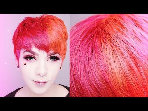 Split Red and Orange hair || IroIro Dye  ☮ ♡