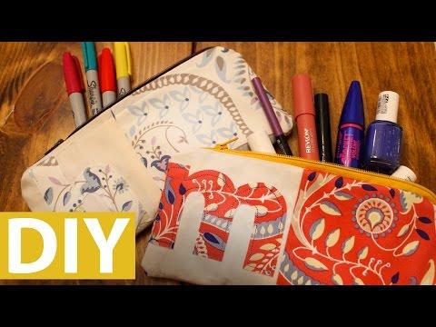 DIY Monogram Zipper Pouch | ArtsyPaints