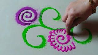 रोजसाठी सुंदर आणि नाजूक रांगोळी डिझाईन by Jyoti Raut Rangoli